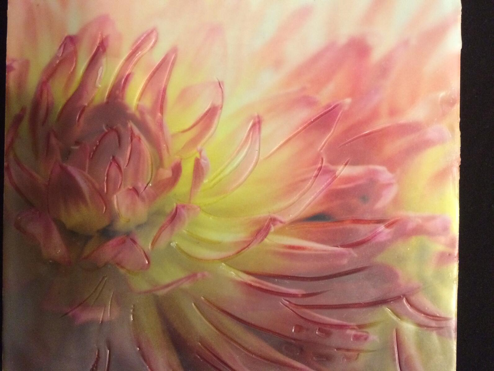 Flower encaustic art by Margaret Berry