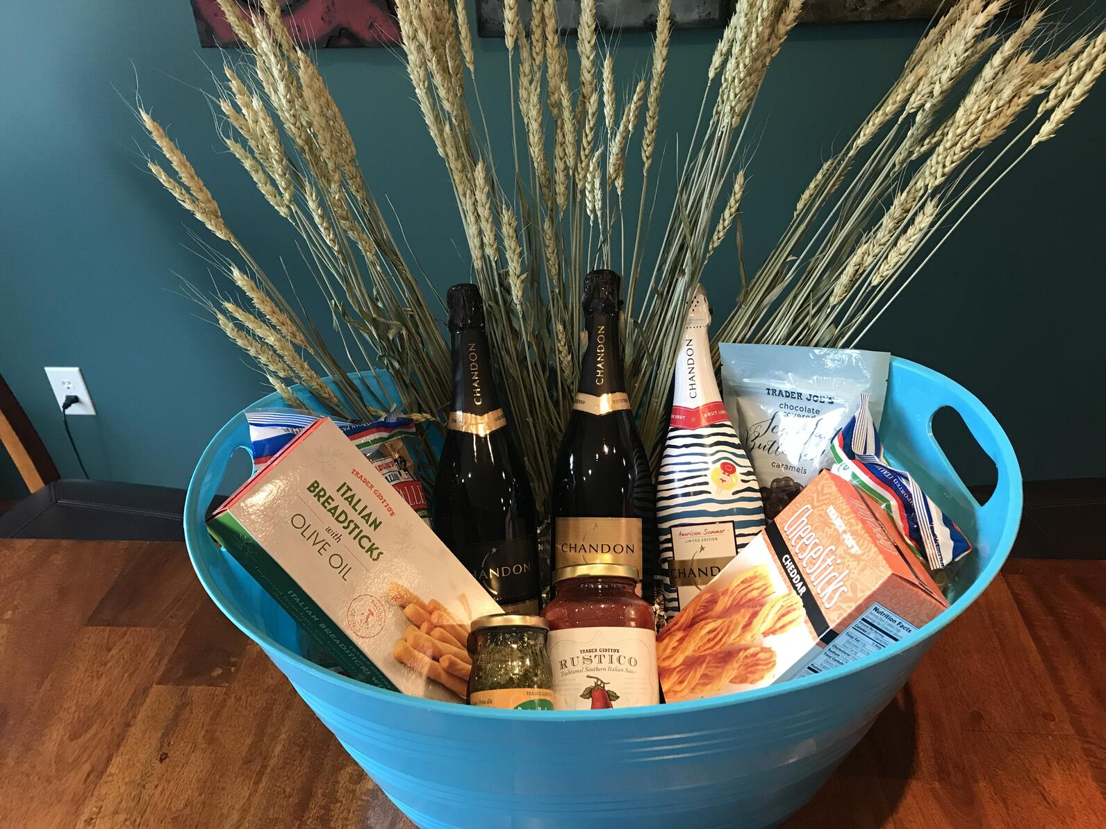 Gift basket of wine and food items