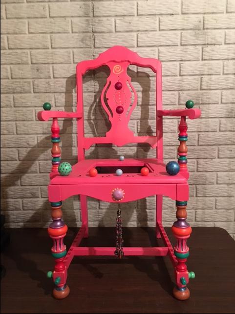 Hand-decorated garden chair by Lana Flagtwet
